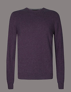 Pure Cashmere Crew Neck  Jumper, PURPLE, catlanding