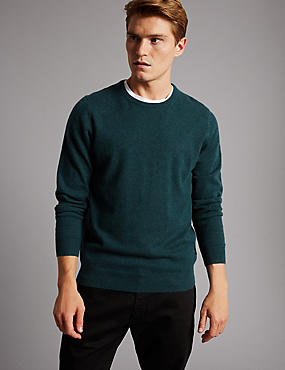 Pure Cashmere Crew Neck  Jumper, TEAL GREEN, catlanding
