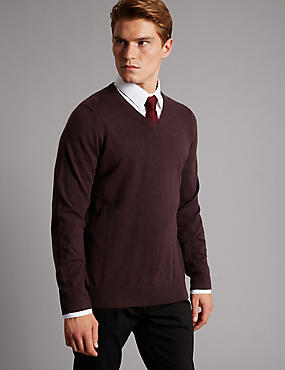 Pure Cashmere V-Neck  Jumper, WINE, catlanding