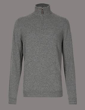 Pure Cashmere Half Zipped Jumper, CHARCOAL, catlanding