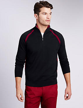 Pure Cotton Zip Neck Contrast Panel Jumper