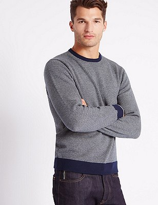 Pure Cotton Double Face Jumpers, NAVY, catlanding