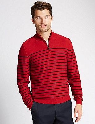 Pure Cotton Zip Through Neck Striped Jumper, RED, catlanding