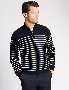 Pure Cotton Zip Through Neck Striped Jumper, NAVY, catlanding