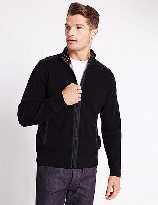 Pure cotton Sporty Pineapple Stitch Zip Through Cardigan, NAVY, catlanding