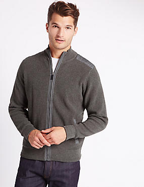 Pure cotton Sporty Pineapple Stitch Zip Through Cardigan, GREY, catlanding