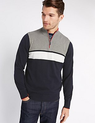 Pure Cotton Colour Block Jumper, NAVY MIX, catlanding