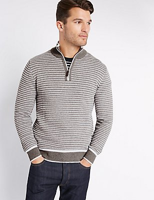 Pure Cotton Textured Jumper, GREY MIX, catlanding