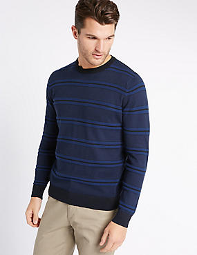 Pure Cotton Striped Jumper, NAVY MIX, catlanding