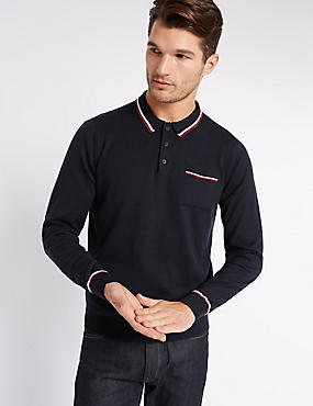Pure Cotton Polo Jumper, NAVY, catlanding
