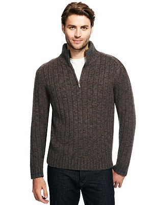 Half Zip Neck Jumper with Wool, BROWN MIX, catlanding