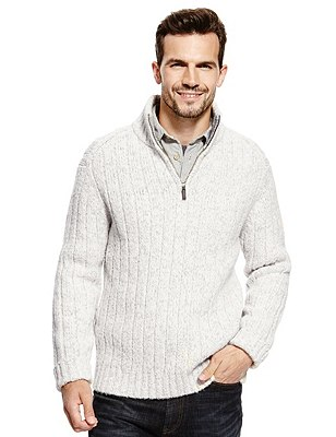Half Zip Neck Jumper with Wool, WINTER WHITE, catlanding