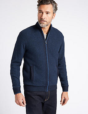 Cotton Rich Zipped Through Cardigan, NAVY, catlanding