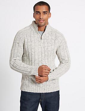 Textured Half Zipped Jumper, WINTER WHITE, catlanding