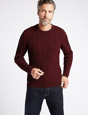 Wool Blend Textured Crew Neck Jumper, BURGUNDY, catlanding
