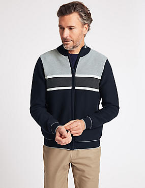 Cotton Rich Striped Zip Through Cardigan, NAVY/GREY, catlanding