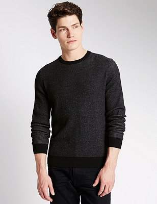 Pure Cotton Slim Fit Waffle Jumper, NAVY, catlanding