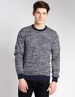 Pure Cotton Slim Fit Jumper, NAVY MIX, catlanding