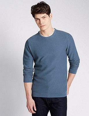 Pure Cotton Textured Crew Neck Jumper, , catlanding