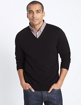 Pure Cotton Checked Mock Shirt Jumper, DARK NAVY MIX, catlanding