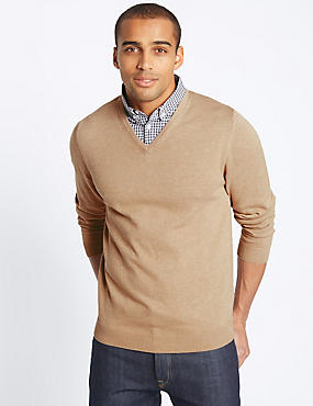 Cotton Rich Mock Shirt Jumper, NATURAL MIX, catlanding