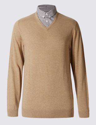 Однотонный джемпер с воротником-рубашкой в монохромную клетку M&S Collection T305002M