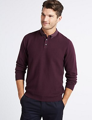 Pure Cotton Textured Mock Shirt Jumper, AUBERGINE, catlanding