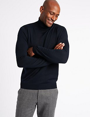 Merino Wool Blend Roll Neck Jumper, MIDNIGHT, catlanding