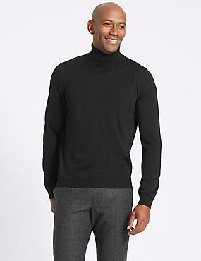 Merino Wool Blend Roll Neck Jumper, BLACK, catlanding
