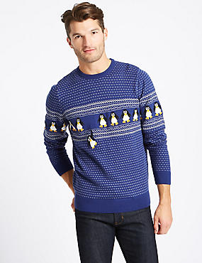 Penguins Crew Neck Jumper with Lights, BLUE, catlanding