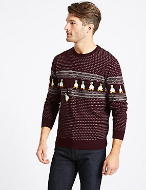 Penguins Crew Neck Jumper with Lights, BURGUNDY, catlanding