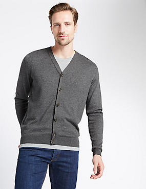 Cotton Blend Cardigan, GREY, catlanding