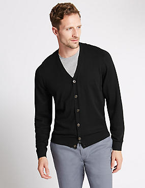 Cotton Blend Cardigan, BLACK, catlanding