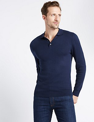 Cotton Blend Polo Shirt, NAVY, catlanding