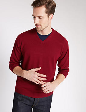 V-Neck Jumper, CRIMSON, catlanding