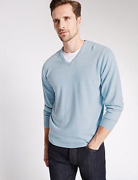 V-Neck Jumper, ICE BLUE, catlanding
