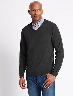 V-Neck Jumper, GREY, catlanding