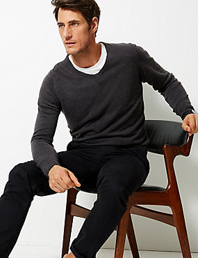 V-Neck Jumper, CHARCOAL, catlanding