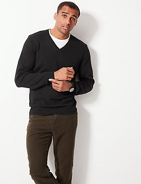 V-Neck Jumper, BLACK, catlanding