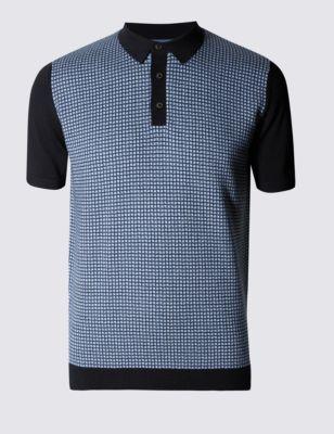 Рубашка-поло из чистого хлопка c мелкой вязкой и кубическим принтом