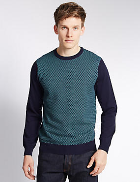 Pure Cotton Geometric Design Crew Neck Jumper, NAVY MIX, catlanding