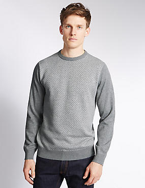 Pure Cotton Geometric Design Crew Neck Jumper, GREY MIX, catlanding