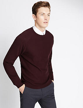 Cotton Blend Tailored Fit Crew Neck Jumper, CRIMSON, catlanding
