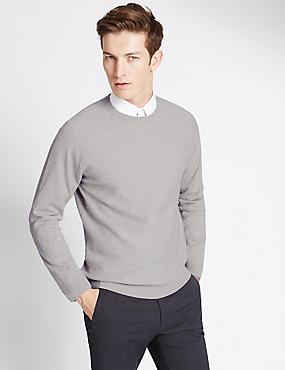 Cotton Blend Tailored Fit Crew Neck Jumper, WHITE MARL, catlanding