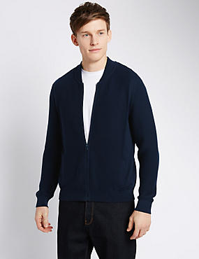 Pure Cotton Tailored Fit Ripple Baseball Cardigan