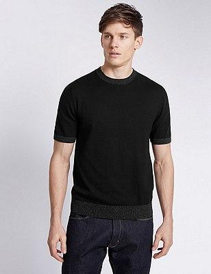 Short Sleeve Tailored Fit Knitted T-Shirt, DENIM MIX, catlanding