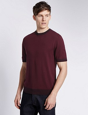 Short Sleeve Tailored Fit Knitted T-Shirt, OXBLOOD, catlanding