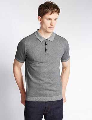 Tailored Fit Knitted Polo Shirt, GREY MIX, catlanding