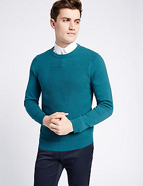 Cotton Blend Textured Slim Fit Jumper, TEAL, catlanding