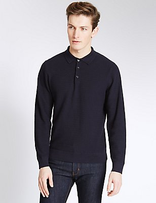 Pure Cotton Textured Slim Fit Jumper, NAVY, catlanding